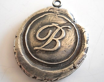 Wax Seal Jewelry Recycled Sterling Initial Pendant  . Personalized .  Bridesmaids Gift