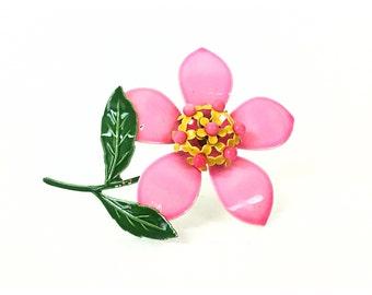 Fleur broche, broche rose, broche vintage, broche en émail, broche des années 1960, 60 broche, bijoux vintage, bijoux rose