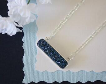Blue Druzy Necklace, Crystal Necklace, Thin Druzy Pendant, Sideways Druzy, Silver, Silver Druzy, Frost Pendant,  Natural Stone, DRZY4