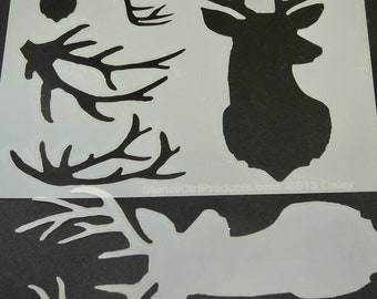 DEER and ANTLERS  Stencil Girl laser cut stencil  6 x 6
