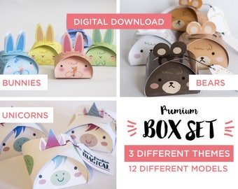 Printable Easter box set, Easter favor box, Woodland party printable boxes, Unicorn party printable, printable party favors, printable boxes