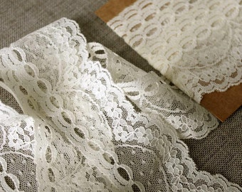 "Vintage lace trim, wide floral vintage cream lace, wedding supplies, 2"" wide cream lace"
