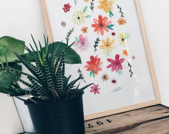 Watercolor flower print