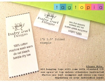 QTY 50~ FOLDED Custom satin labels ~  thermal printed textile/clothing tags- FOLDED