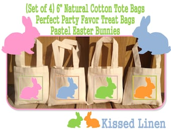 Pastel Easter Bunny Rabbit Bunnies Party Favor Treat Birthday Bags -  Mini Cotton Totes Kids Party Bags - Set of 4
