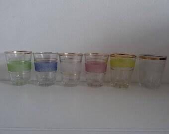 Vintage 1950s Set of Six Sugar Frosted Shot Glasses