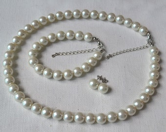 ivory glass pearl set, ivory 10mm pearl necklace pearl bracelet and pearl earrings set,wedding bridesmaids pearl set,glass pearls set