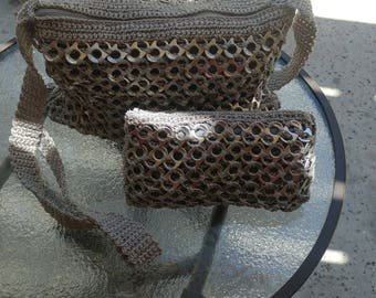 Upcycled sodatab\poptab crossbody purse with matching wallet