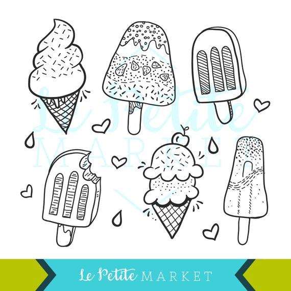 Doodle dibujados a mano helados y paletas Prediseñadas