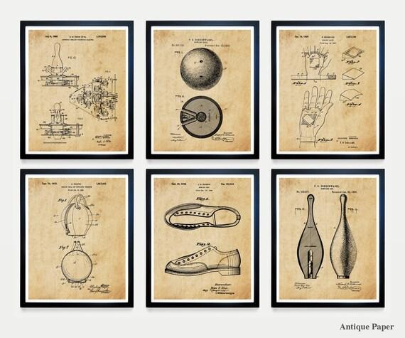 Bowling Patent Art - Bowling Poster - Bowling Wall Art - Bowling Print - Bowling Ball - Bowling Pin - Bowling Art - Bowling Alley Decor