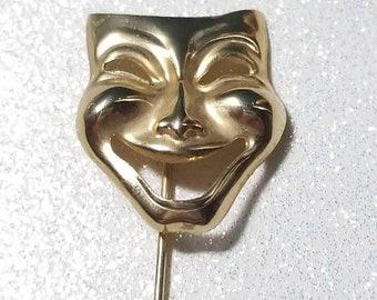 ON SALE  : Vintage Stick Pin Comedy Mask Goldtone