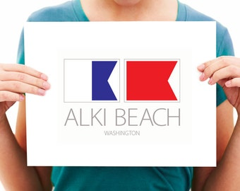 Alki Beach - Washington - Nautical Flag Art Print