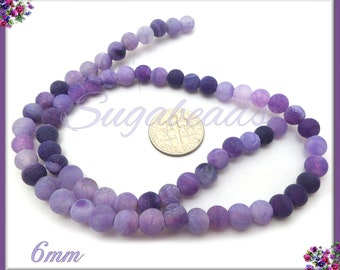Frosted Purple Agate, Matte Agate Beads - Full Strand 6mm Matte Dragon Vein Agate, SBGB24