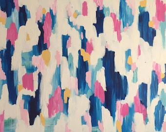 """Tickled Pink - Extra Large Original Abstract Acrylic Painting - 36""""x48""""x1.5"""""""