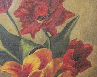 Antique Oil Painting Tulips Victorian Canvas 1800s
