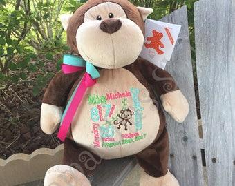 Personalized stuffed Monkey, Keepsake, Personalized baby gift, Stuffed Animal, Monkey Gift, Personalized Adoption Gift, Jungle Zoo Nursery