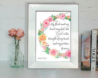 Bible verse poster, Psalm 73:26, Christian wall art, Scripture verse