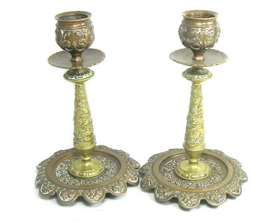 Antique Brass Candlesticks by William Tonks with Copper