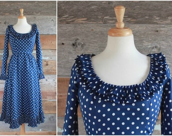 Victor Costa dress | navy blue polka dot dress | size xs - s