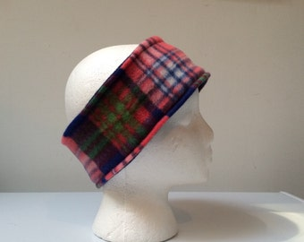 Plaid reversible fleece ear warmer headband, fleece headband, winter ski headband ear warmer.