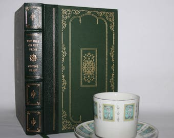Mill on the Floss by George Eliot, Franklin Library, green leather binding, gold decoration, fine bindings, decorative editions