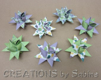 Paper Stars, Set of 7 Christmas Purple Green Yellow White Froebel Star Party Shower Kids Room Decoration Plaid Polka Dot READY TO SHIP (72)