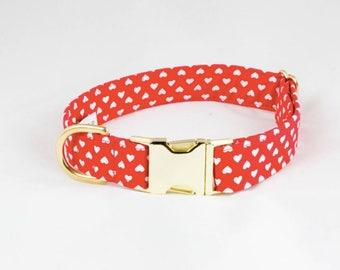 Be My Valentine Pretty Red Hearts Dog Collar