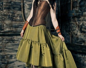 "Steampunk Skirt - Pirate Gothic Renaissance - Asymmetrical Hem Handmade- ""Ellis Style""-custom to your size"