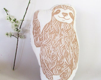 Sloth Shaped Animal Pillow. Hand Woodblock Printed. LARGE 18 inches. Pick your colors. Made to Order.
