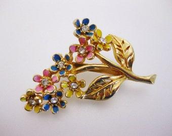 Vintage Pink Blue and Yellow Enamel Floral Brooch Pin | Ladies Drop Earrings | Lucite Drop Earrings | Vintage Jewellery | Gift for Her
