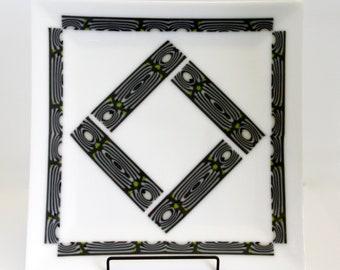 Patterned Bar Fused Glass Platter