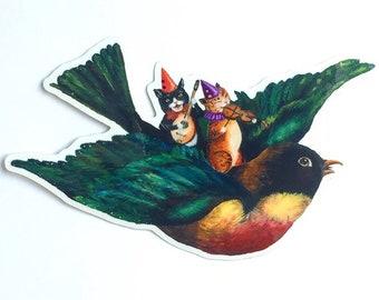 Vinyl Sticker // Cat Sticker // Bird Sticker // Robin Sticker // Musical Sticker // Laptop Decal // Gifts under 5