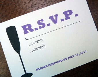 Printable RSVP Card - Response Card Download - Instant Download - RSVP Template - Response Card - Champagne Flute Silhouette - Champagne PDF