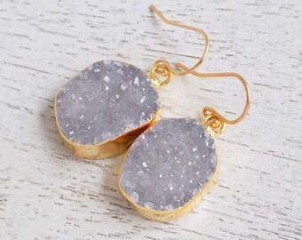Druzy Earrings, Large Druzy Dangle Earrings, Drusy Earrings, Gemstone Earrings, Natural Stone Earrings, Drussy, Gold Earrings, Gift, R3-120