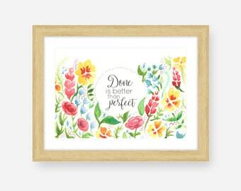 Decorazioni da parete, citazioni acquerello fiori, Arte digitale scaricabile acquarello, Decorazione arredamento, Regalo per amante di fiori