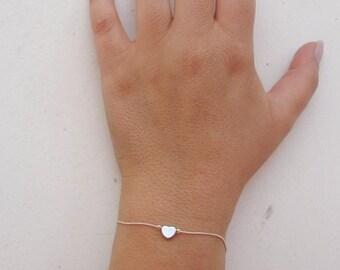 Dainty Bracelet, Heart Bracelet, Silver Heart, Minimalist Bracelet, Simple Bracelet, Silver Bracelet, Friendship Bracelet, Love Bracelet