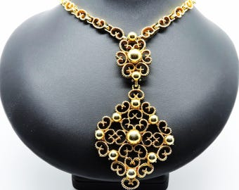 Vintage MODERNIST D'ORLAN NECKLACE Boucher Gold Plated Chunky Necklace