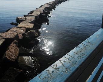 Personalized Ocean Print, Custom Art, Names Digitally Carved in Pier, Personalized Coastal Decor, Wave Breaker Art Print, Beach House Decor