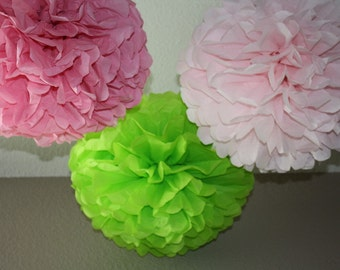 Tissue Paper Pom Poms - set of 15 Poms - Your Color Choice- SALE