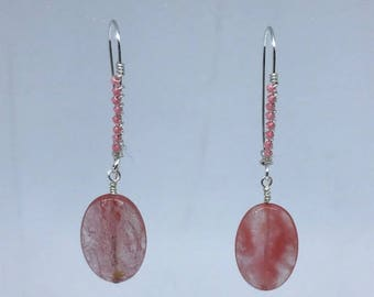Cherry Quartz Drop Earrings with Kidney latch