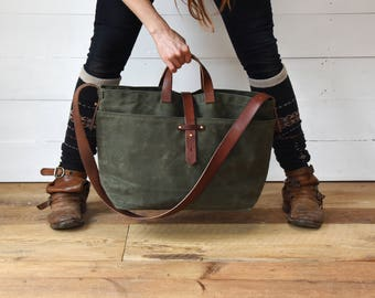 Waxed Canvas Tote Bag in Moss, Large Waxed Canvas Cross body Bag, Waxed Canvas Diaper Bag, Waxed Canvas Handbag, Waxed Canvas Purse, For Him