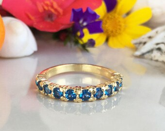 20% off-SALE!! Blue Topaz Ring - December Birthstone - Half Eternity Ring - Stack Ring - Gold Ring - Dainty Ring - Prong Ring - Simple Ring