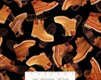 Man Cave II Fabric - Leather Work Boots Toss Black - Benartex Kanvas YARD