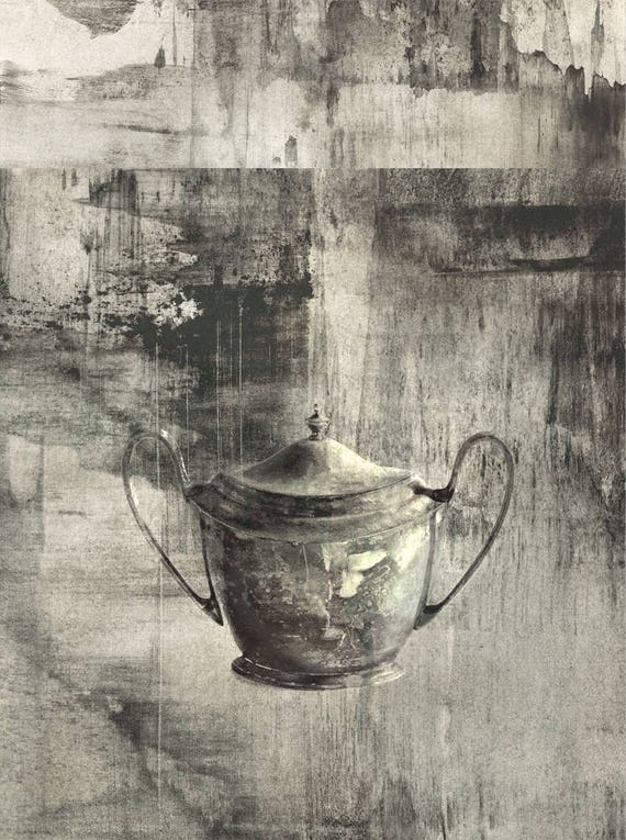 Heirloom 1, charcoal, mixed media, drawing, silver, gray, serene, dreamy, still life, limited edition, iconic art, contemporary print, iskra