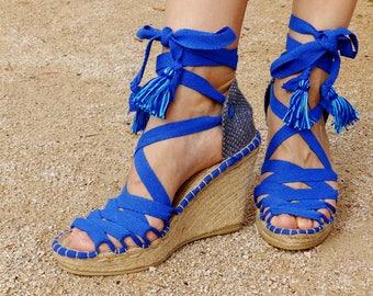 Blue  Hight Wedge   Sandals   Spanish espadrilles   Boho style   Alpargatas made in Spain