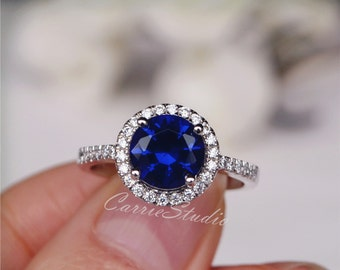 Blue Sapphire Ring Sapphire Engagement Ring Wedding Ring 925 Sterling Silver Ring Anniversary Ring Promise Ring