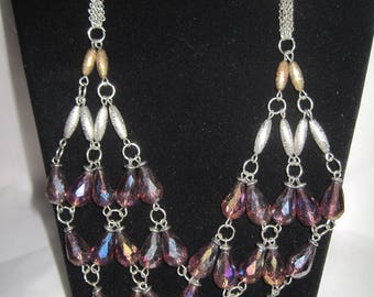 "21"" beaded bib necklace"