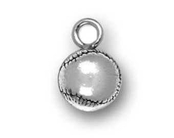 5 Round Silver Baseball Charm Pendant 12x8mm by TIJC SP0449