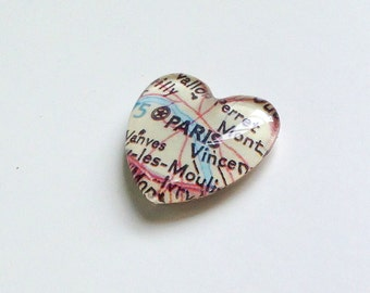 NEW Vintage Map Magnet - Heart Shape - Paris France