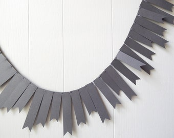 Slate Gray Shimmer Garland / Wedding Garland / Halloween Decor/ Dark Gray Bunting / Flag Fringe Garland Shiny / Gray Photo Prop